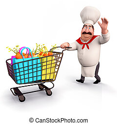 Chef with vegetables trolley - 3D illustration of Chef with ...