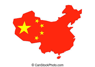 3d Illustration of China Flag Map Isolated On White