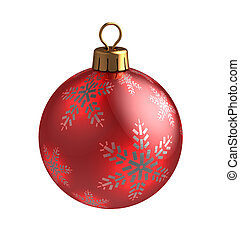 christmas ball - 3d illustration of christmas ball, red with...