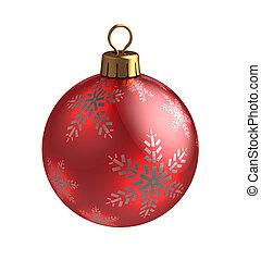christmas ball - 3d illustration of christmas ball, red with...