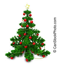 3D Illustration of Christmas Fir with Red Balls