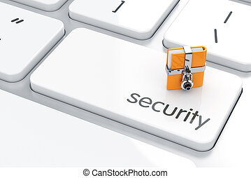 Security concept - 3d illustration of chrome combination...