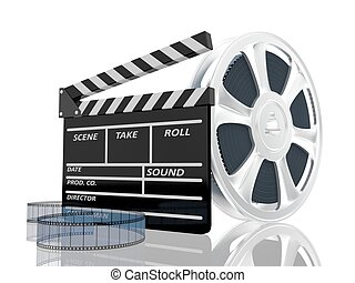 3d illustration of cinema clap and film reel, over white ...