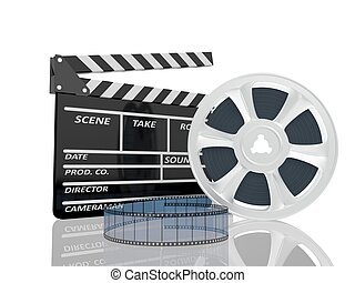 3d illustration of cinema clap and film reel, over white background