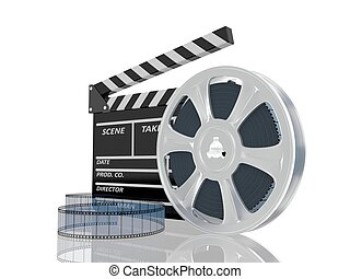 3d illustration of cinema clap and film reel, over white...