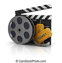 cinema - 3d illustration of cinema clap, film reel and...