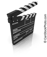 clapboard - 3d illustration of cinema clapboard over white ...