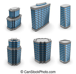 city buildings set - 3d illustration of city buildings set,...
