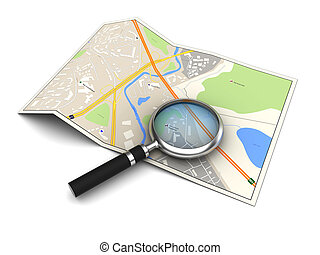 city map - 3d illustration of city map and magnifying glass
