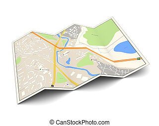 3d illustration of city map over white background