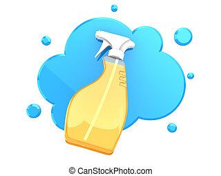 cleaning spray - 3d illustration of cleaning spray over blue...