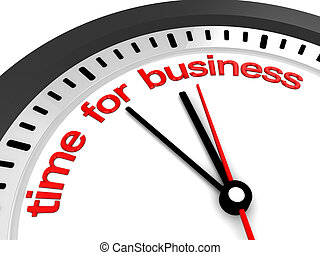 time for business - 3d illustration of clock with 'time for ...