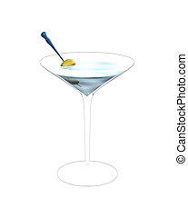 3D illustration of cocktail glass with green olives