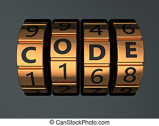 3d illustration of code lock dial with text 'code' on it