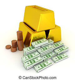 3D Illustration of coins, gold bars and a pile of one hundred dollar bills