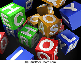 colorful cubes - 3d illustration of colorful cubes over dark...