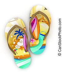 3D Illustration of Colorful Flip-flops