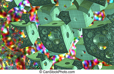 3D illustration of colorfull green abstraction