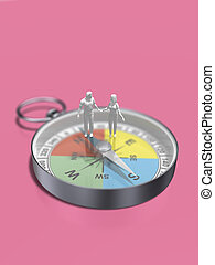 3D illustration of compass.