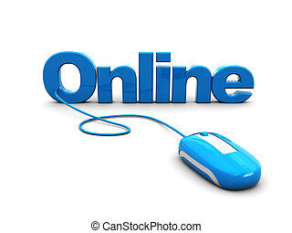 online - 3d illustration of computer mouse connected to text...