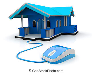 3d illustration of computer mouse connected to house, home control concept, real-estate concept