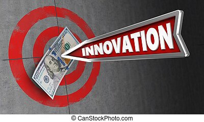 3d illustration of concrete wall target with innovation arrow and 100 dollars