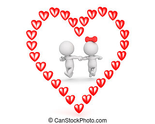 3D illustration of couple running outlined by a red cartoon heart