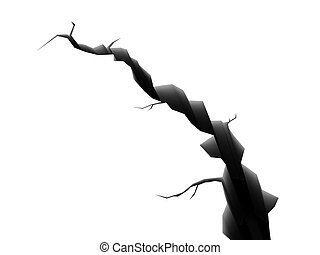 crack - 3d illustration of crack isolated over white ...