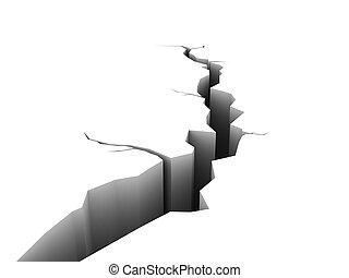 crack - 3d illustration of crack isolated over white...