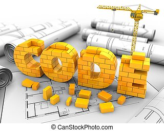 3d illustration of crane over house plan background with code sign