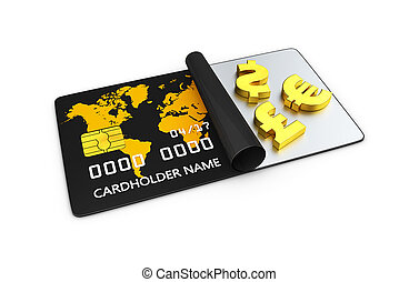 3d Illustration of Credit card with gold of money symbol.