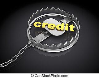 credit trap - 3d illustration of credit trap metaphor, over...