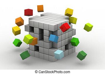 3d illustration of cubes