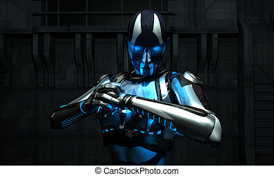 3d illustration of cyborg holding her fist