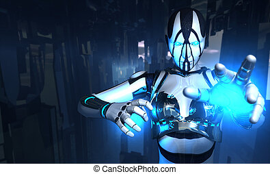 3d illustration of cyborg in scene