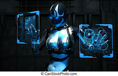 3d illustration of cyborg using holographic computer panel