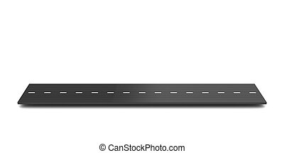 road piece - 3d illustration of dark road piece over white...