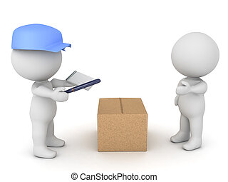 3D illustration of delivery man bringing package to a customer.