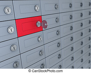deposit boxes - 3d illustration of deposit boxes with one...