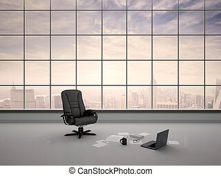 3d illustration of desk chair in an empty office