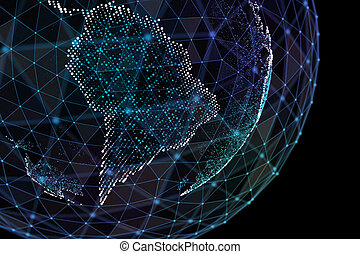 3d illustration of detailed virtual planet Earth. Technological digital globe world.