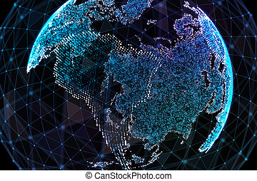 3d illustration of detailed virtual planet Earth. Technological digital globe world.