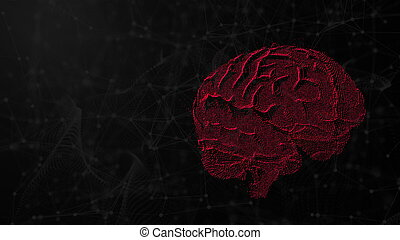 3d illustration of digital brain on futuristic background, concept of artificial intelligence and possibilities of mind, computer render backdrop