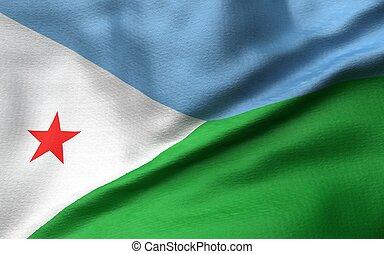 3D Illustration of Djibouti Flag