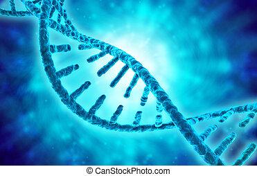 3d illustration of dna helix on blue background