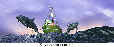 illustration of dolphins jumping in the sea