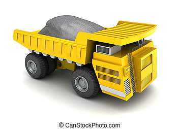 dumper - 3d illustration of dumper with ore, over white...