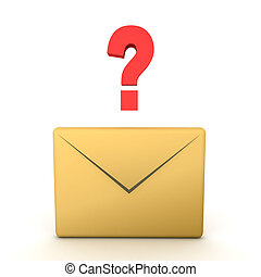 3D illustration of e mail envlope icon with question mark above it