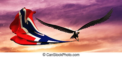 3d illustration of eagle and flag floating in the wind