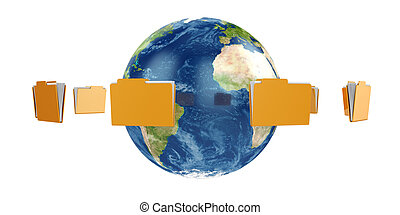 Earth globe with flying folders
